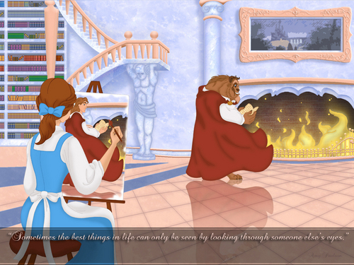 Disney Couples wallpaper probably containing a sign entitled Belle and Beast