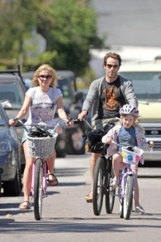 Biking with Anna and his daughter