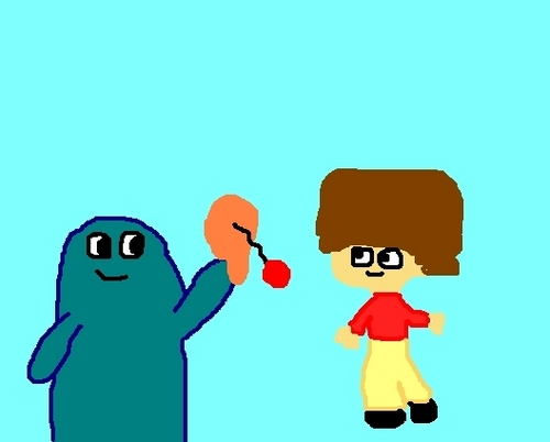 Bloo and a very poorly drawn Mac