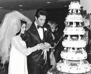 Elvis And Pescilla Cutting Their Wedding Cake