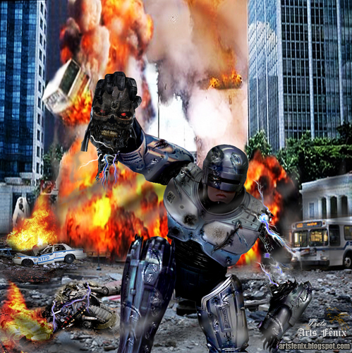 Robocop wallpaper containing a fire and a fire titled ROBOCOP VS TERMINADOR