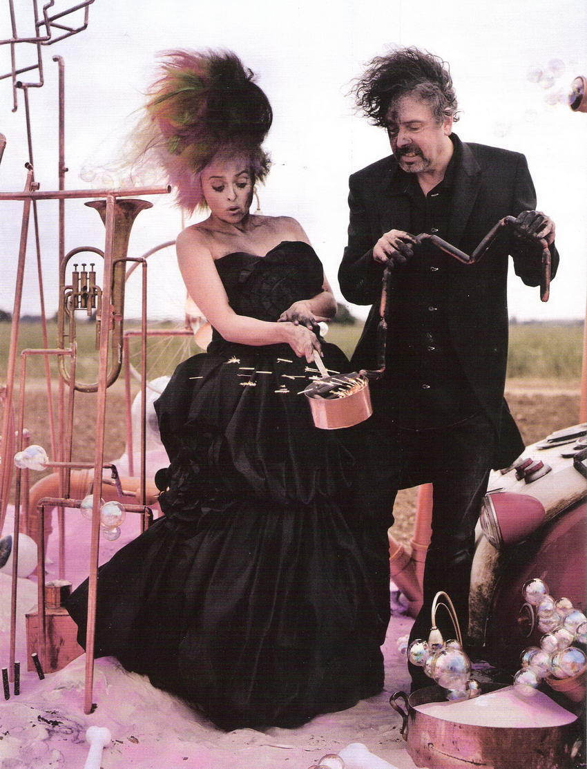 Tim Burton & Helena Bonham Carter in the December 2008 Issue of Vogue (UK)