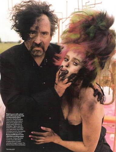 Tim 버튼, burton & Helena Bonham Carter in the December 2008 Issue of Vogue (UK)