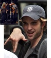 rob:crazy face and cowgirls?! on set of remember me  - twilight-series photo