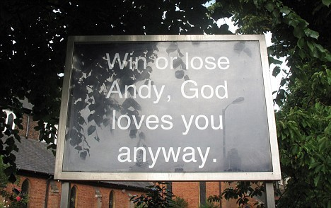 Andy Murray wallpaper called A Sign from outside a church in Wimbledon