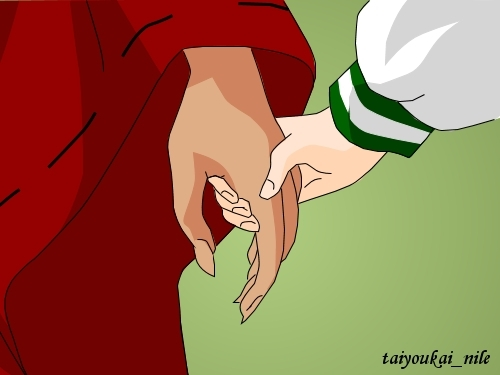 Inuyasha wallpaper containing anime titled InuYasha and Kagome - Holding Hands