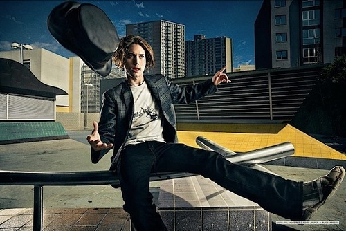 Jackson Rathbone with Hat on a Roof