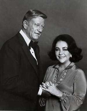 Classic Movies wallpaper with a business suit entitled John Wayne and Elizabeth Taylor