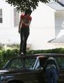 Kristen and Dakota on set of The Runaways - twilight-series photo