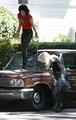 Kristen and Dakota on the Set of Runaways