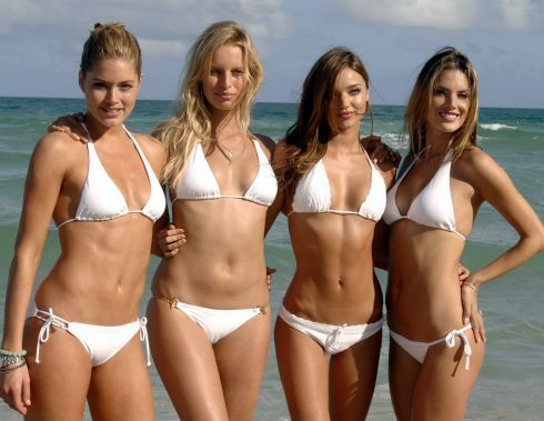 Victoria Secret Bikini Models On Beach