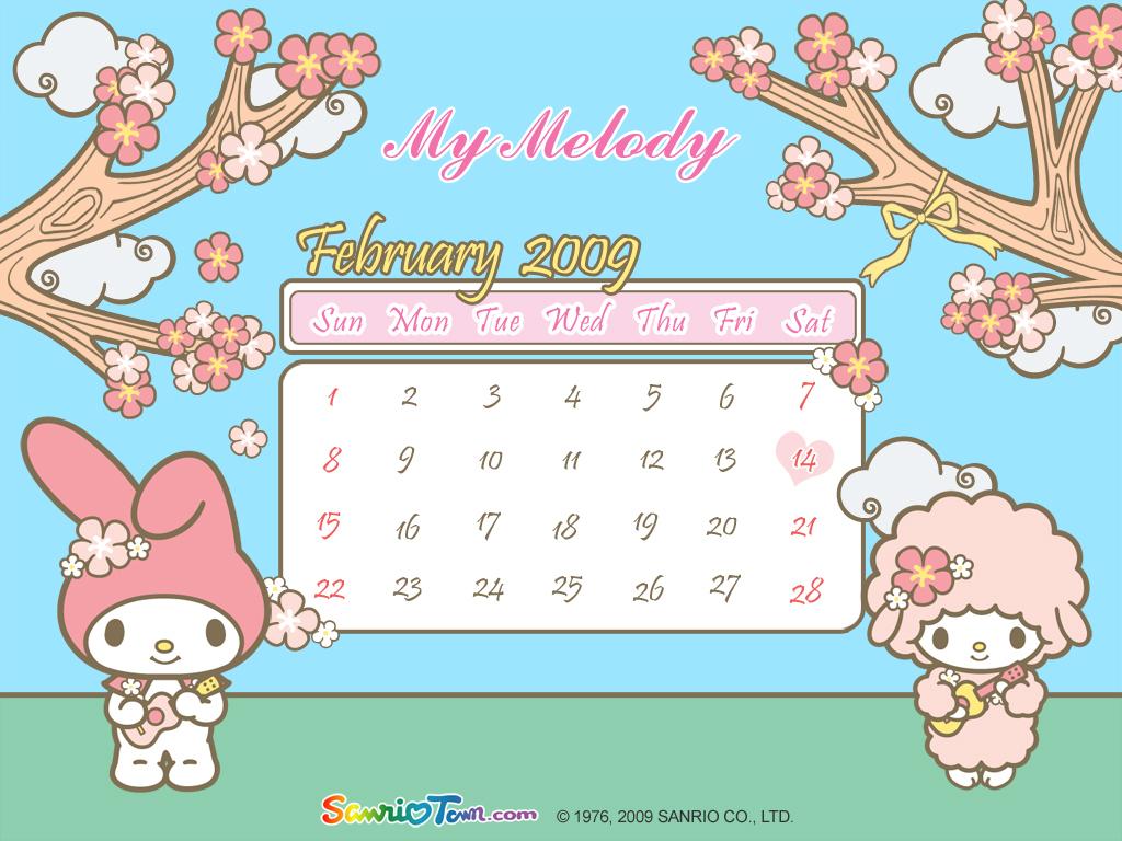 My Melody Calendar Wallpaper