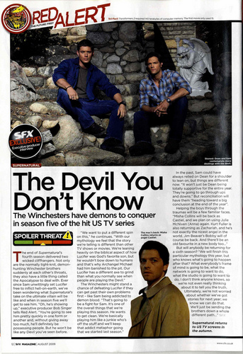 Supernatural wolpeyper containing anime titled SFX Magazine Scan
