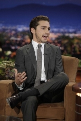 Shia LaBeouf wallpaper containing a business suit, a suit, and a well dressed person called Shia on The Tonight mostra with Conan O'Brien