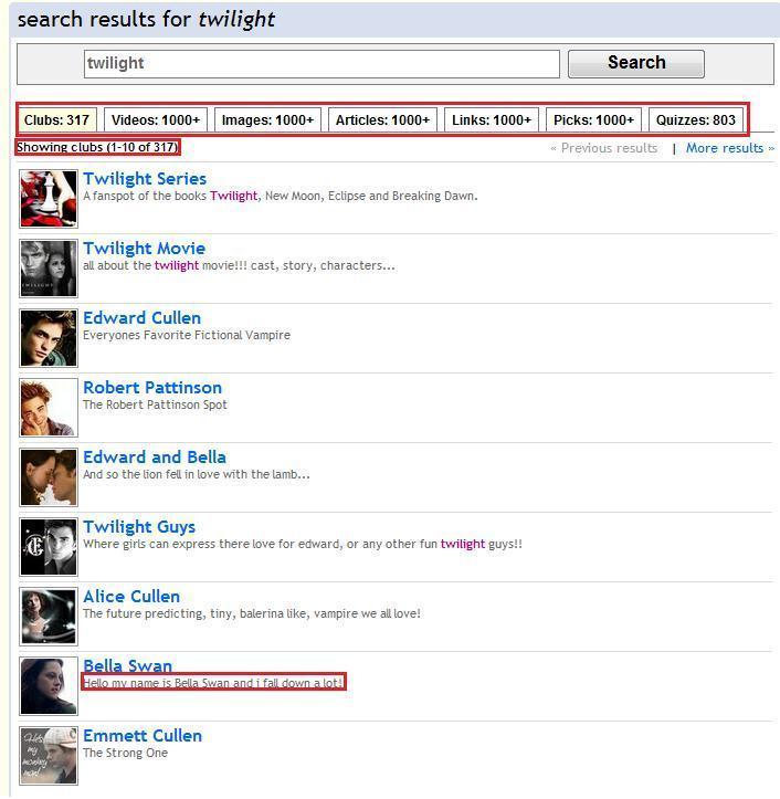 Twilight Search Page on Fanpop