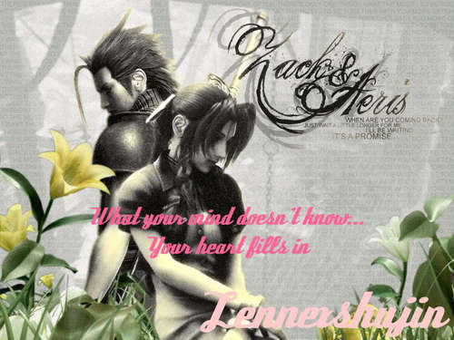 Final pantasiya VII wolpeyper possibly with a bouquet entitled aerith and zack