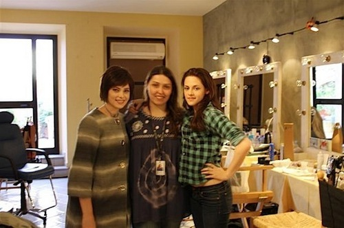 Ashley and Kristen on the set New Moon
