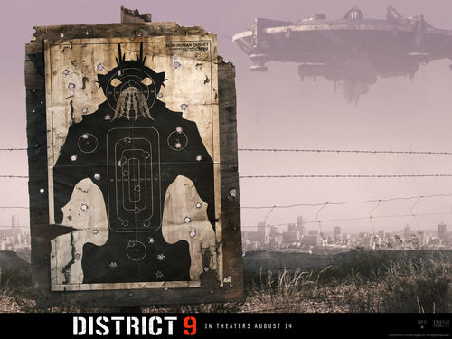District 9 Alien shooting range movie poster