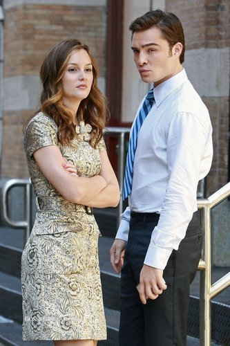 Ed and Leighton on set of GG season3