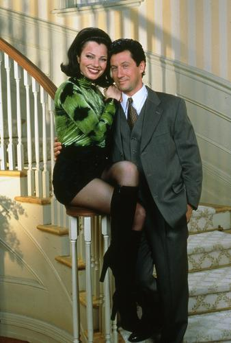 The Nanny wallpaper with a business suit, a suit, and a dress suit titled Fran & Max (HQ)