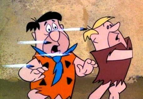 Fred Flintstone and Barney Dodging Bullets