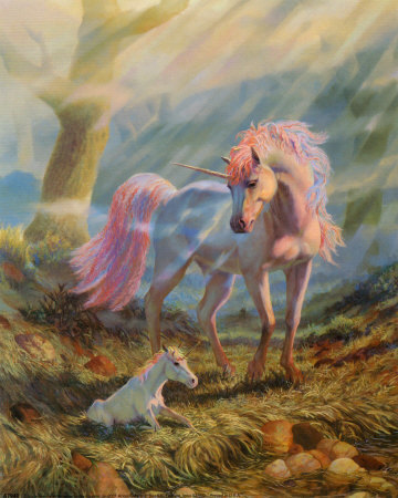 Mother and Baby Unicorns - unicorns Photo