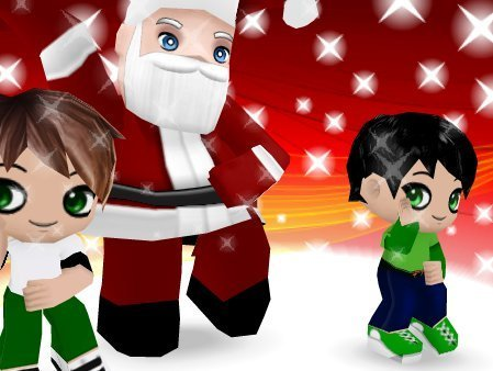 OMG! It's santa, tent and ben 10! xD