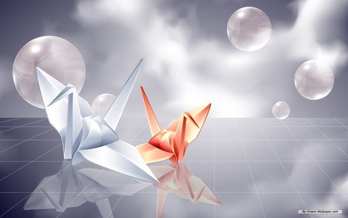 Origami kren kertas dinding