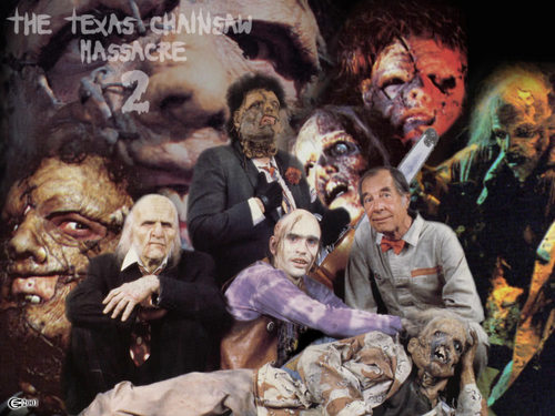 恐怖电影 壁纸 probably with 日本动漫 entitled The Texas Chainsaw Massacre 2