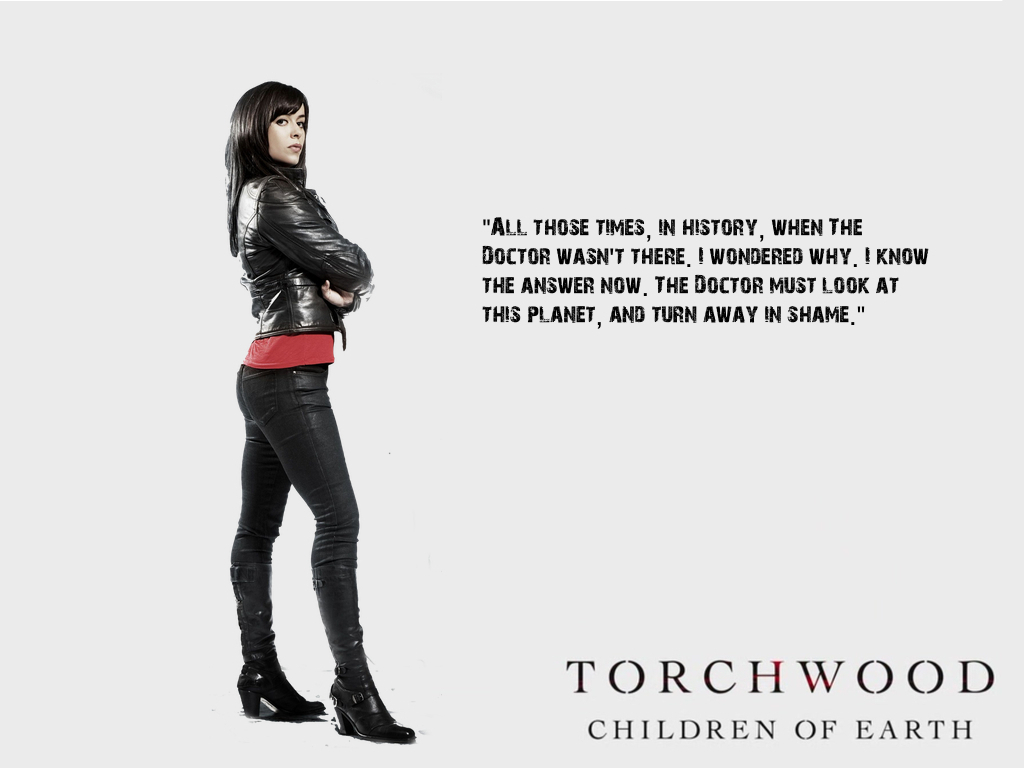 "Torchwood: Children of Earth - Gwen wallpaper (""Doctor"" Quote)"