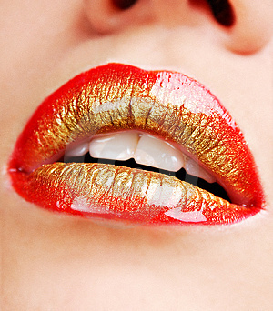 red & gold lips - lips Photo
