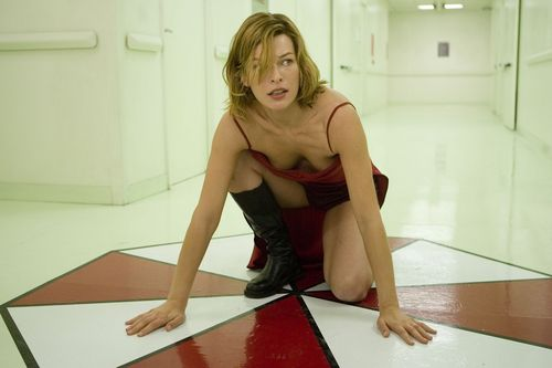 Milla Jovovich karatasi la kupamba ukuta possibly with bare legs, tights, and a leotard entitled resident evil extinction