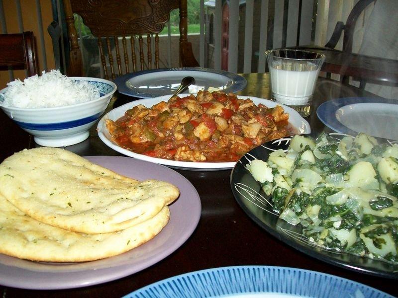 Chicken Jalfrezi and Aloo Saag