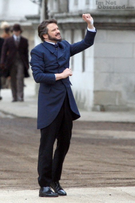 Colin Firth on set of Dorian Gray
