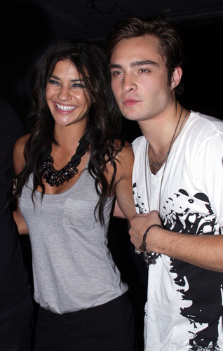 Ed Westwick and Jessica Szohr at the M.A.C. Cosmetics private artist's studio tour