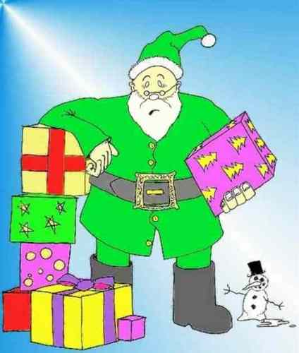 Father Christmas in his new green outfit