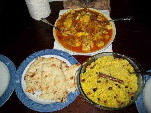 Fish Masala and Spiced Rice with peanuts - indian-food Photo