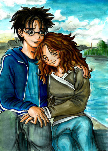 Harry and Hermione wallpaper probably with a park bench and a well dressed person titled Hermione and Harry