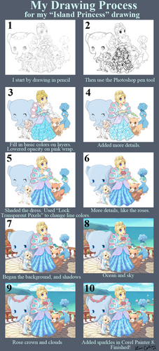 Island Princess drawing process