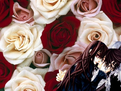 Kiss Kiss wallpaper with a corsage, a rosiness, and a rosebush in The ... Vampire Love Kiss