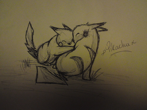 My Drawing of 2 Pikachu's hugging
