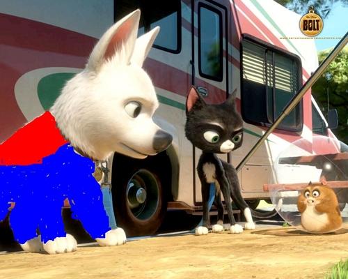 bolt the super dog meets rhino