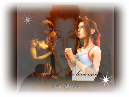 zack and aerith praying for the love ones - final-fantasy-vii Wallpaper