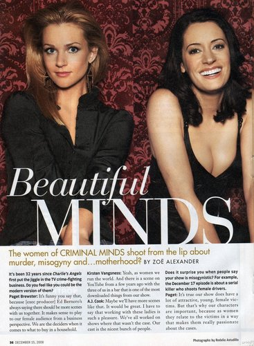 Criminal Minds Girls 壁纸 possibly with a portrait and 日本动漫 titled AJ Cook, Paget Brewster & Kirsten Vangsness interview