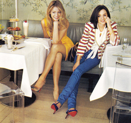 Blake Lively and Leighton Meester wallpaper probably with bare legs, hosiery, and a living room entitled Blake and Leighton