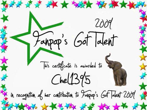 fanpop's got talent wallpaper called Chel1395 Certificate