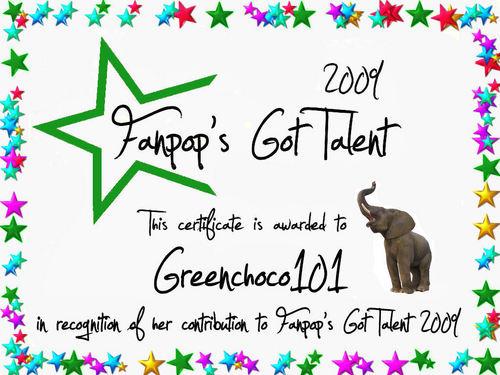 fanpop's got talent wallpaper titled Greenchoco101 Certificate