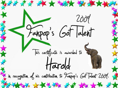 fanpop's got talent wallpaper entitled Harold Certificate