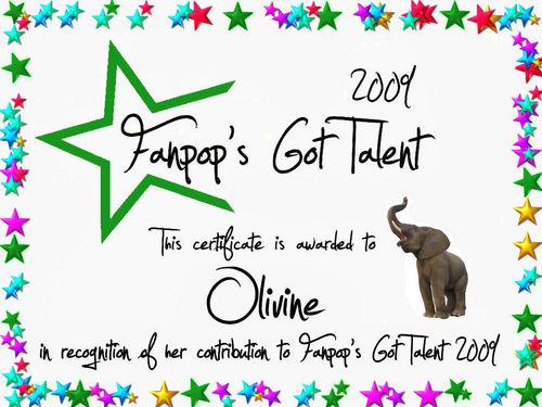 fanpop's got talent wallpaper entitled Olivine Certificate