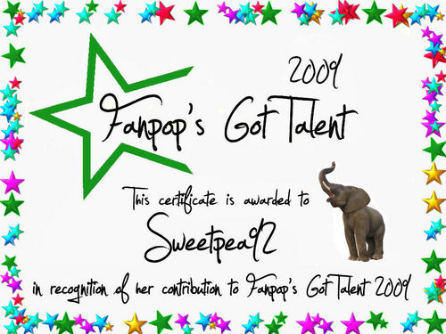 fanpop's got talent fond d'écran called Sweetpea92 Certificate